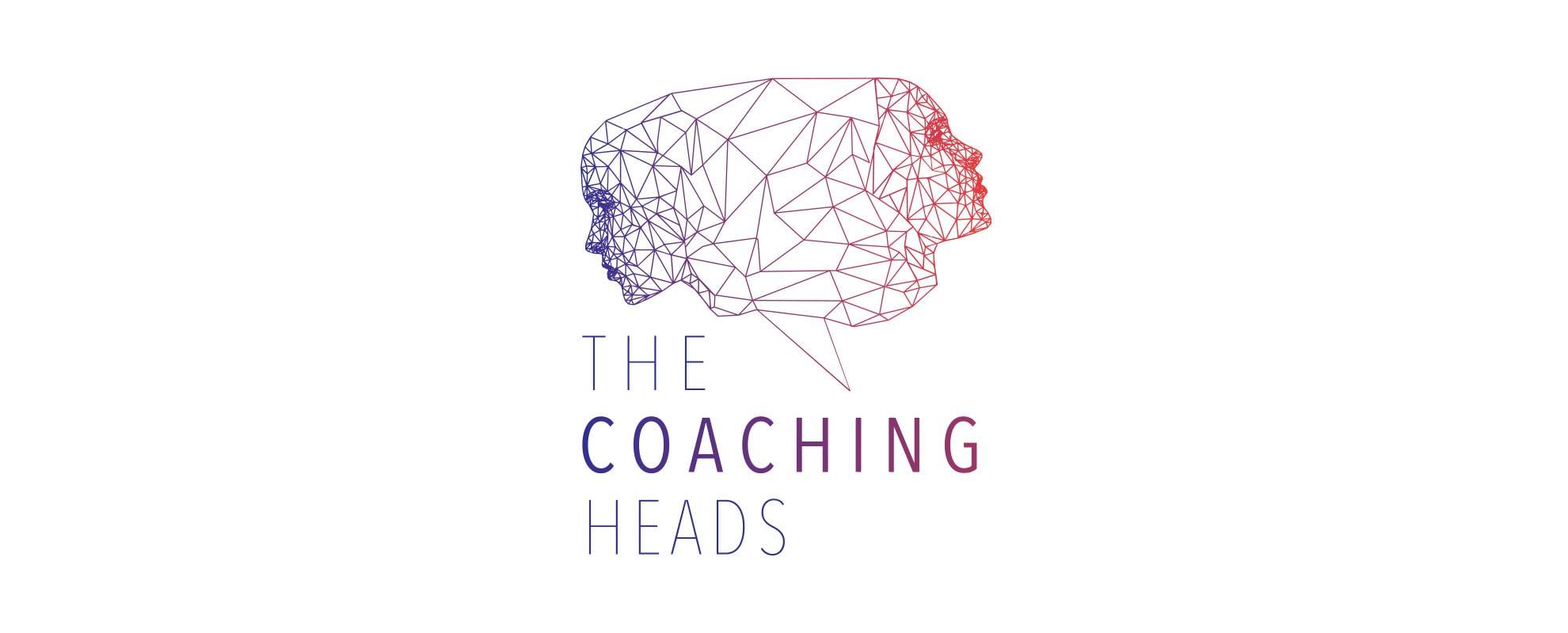 logo coaching heads branding design