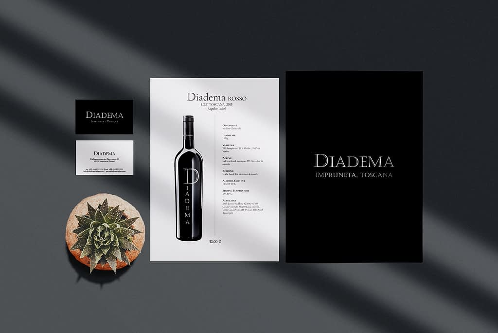 Diadema Wine Stationary Graphic Design